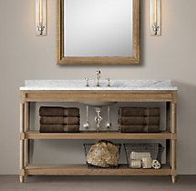 "Weathered Oak Extra-Wide Single Washstand 55½""W x 24""D x 32¾""H"