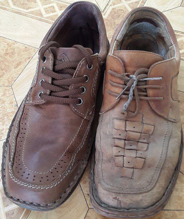 pantofi de piele, noi si uzati