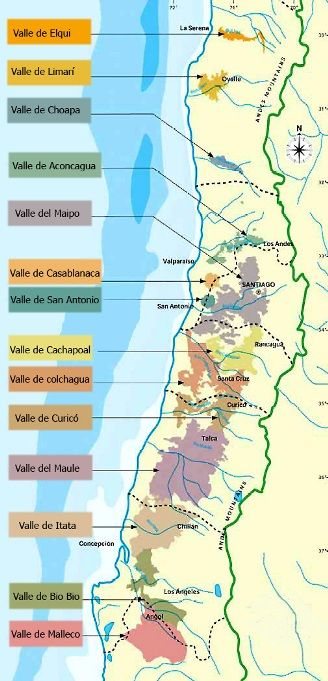 Map of Chilean Wine Country