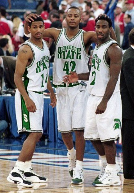 2000 NCAA Basketball Championship; Charlie Bell, Morris Peterson, and Mateen Cleaves lead the Michigan State Spartans past the Florida Gators, 89-76, to capture the title