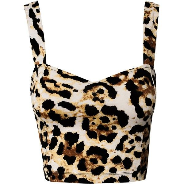 Motel Larry Crop Top (£28) ❤ liked on Polyvore featuring tops, shirts, crop tops, blusas, leopard, tall shirts, short tops, leopard shirt, leopard crop top and short shirts
