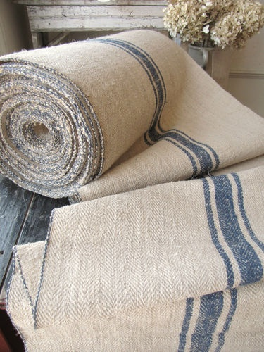Antique Vintage STAIR / TABLE RUNNER HEMP Blue Rug Fabric Per/ 1 YD Carpet