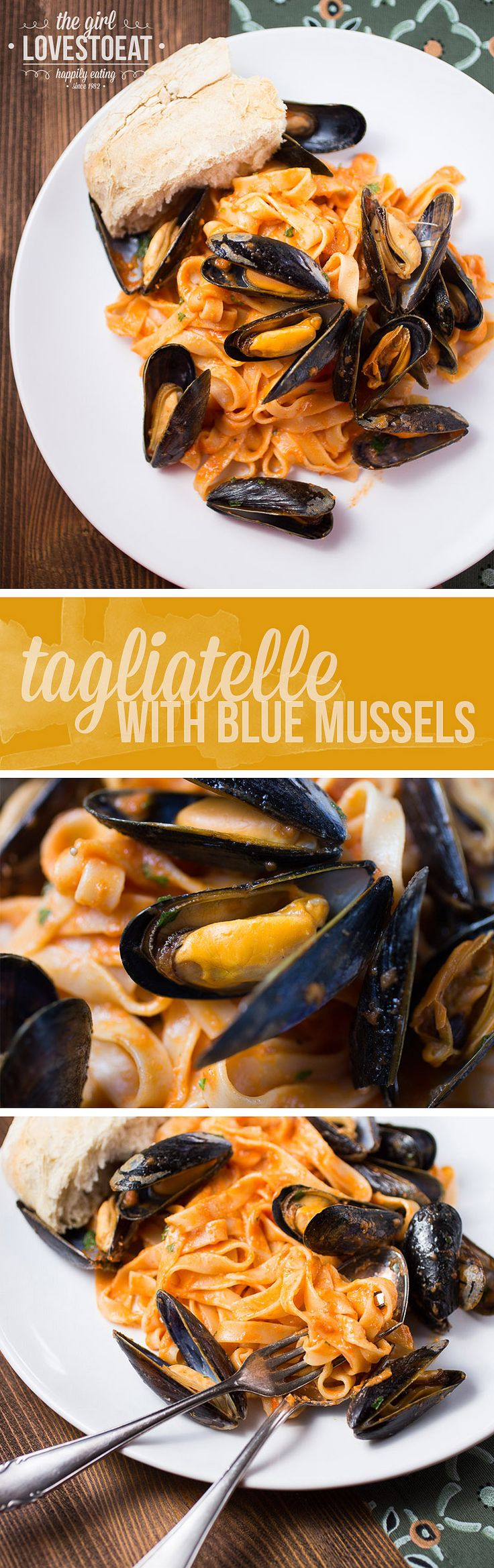Tagliatelle in a spicy tomato sauce topped with some juicy, garlicy blue mussels.