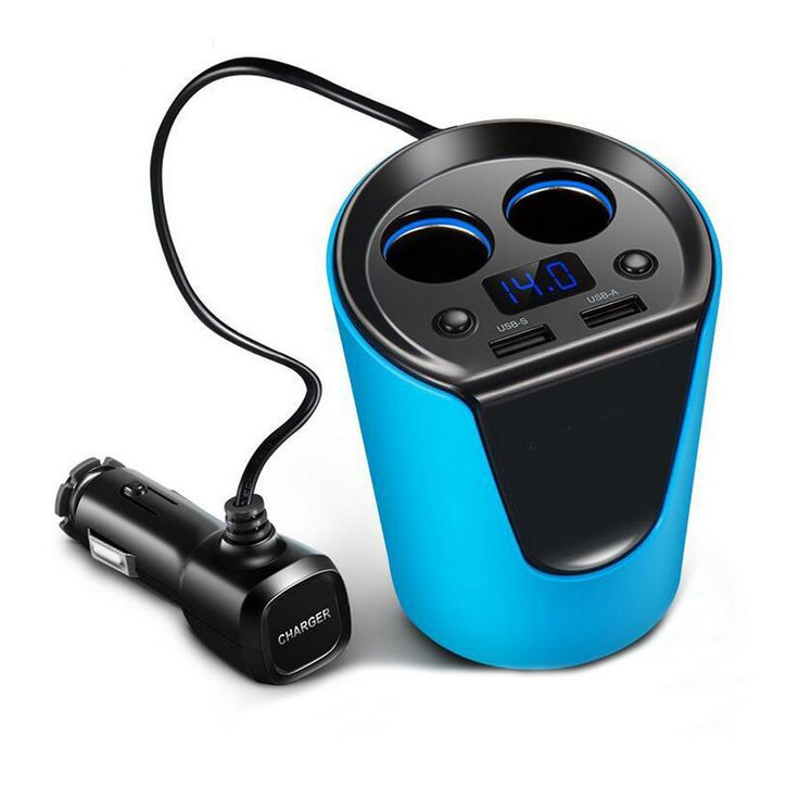 Multifunction Cup Car Charger Dual USB Cigarette Lighter Charger Adapter With Voltage Current Display for iPhone GPS