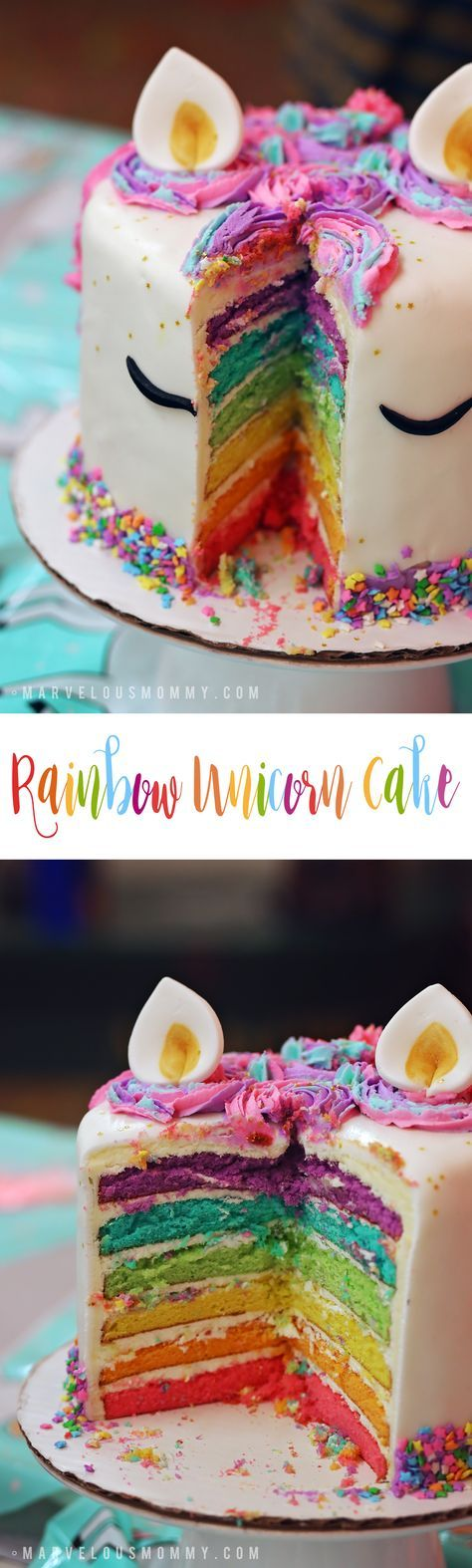 DIY Unicorn Rainbow Cake - Haley's 6th Birthday Party