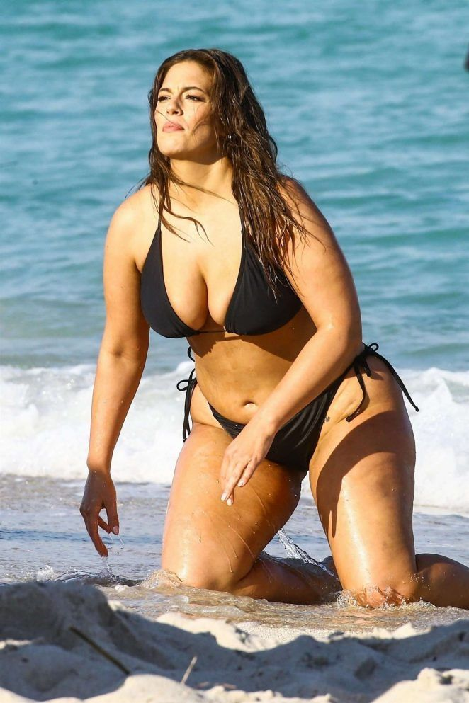 10f783931b457 Ashley Graham in Black Bikini For Photoshoot on the beach in Miami – March  2018