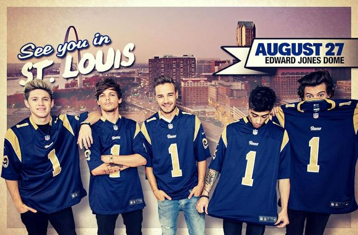 AHHHHHHH! THERE COMING TO ST.LOUIS! AHHHHHHHHHHH! We MIGHT go to see them. If we can't get tickets we arent going......DUH. But they are going to see the Arch and OMG They are wearing The Rams Jerseys! AHHHHHH! I'm not a big fan of Foot-Ball but I can't. I just Can't.