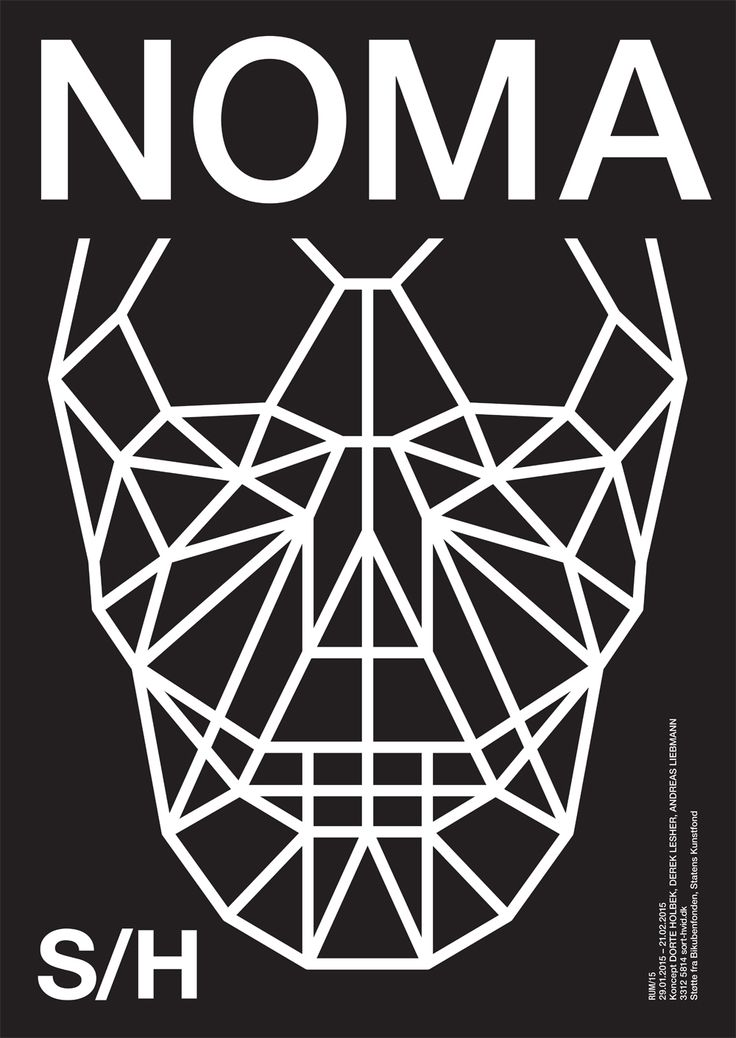 NOMA. Winner concept of RUM/15. Graphics Wrong Studio ©2014. #fw15 #sorthvidcph #sorthvid #poster #sorthvidposter #2014 #typography #graphicdesign #blackandwhite #minimalistic #stageart #art #visualart #food #installation #skull #drawing
