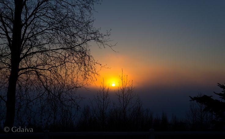 Sunset in frosty fog. Alaska.