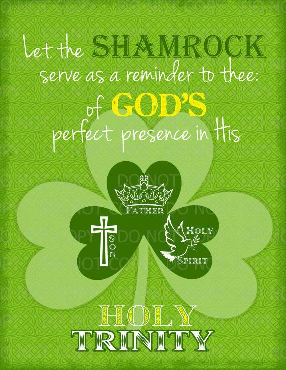 Printable DIY St. Patrick's Day Christian Religious Print - Shamrock ...
