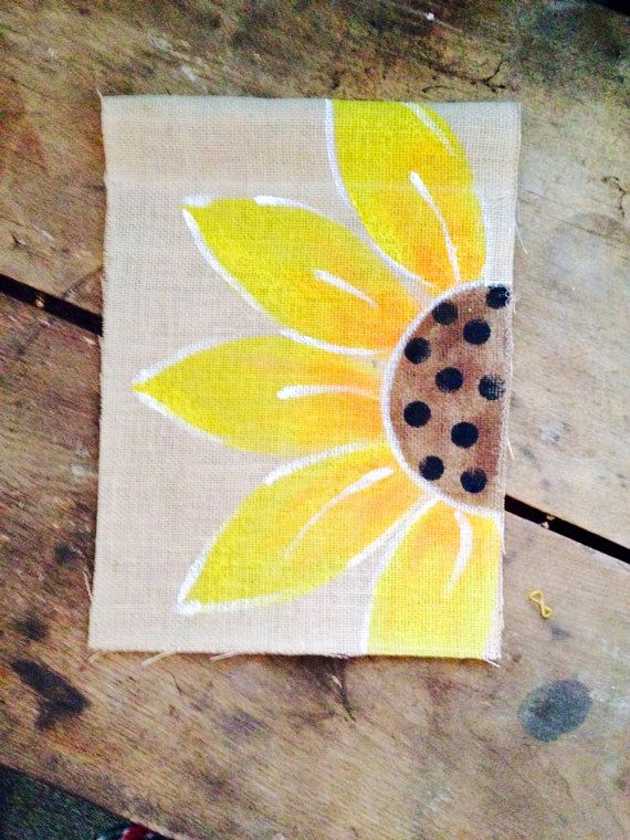 Yellow Sun Flower Burlap  Flag Spring Summer on Etsy, $20.00