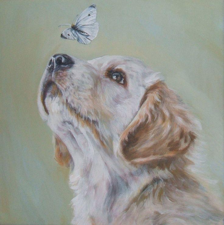 Golden Retriever art print CANVAS print of LA Shepard painting 12x12 dog art. $39.99, via Etsy.