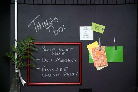 She made her wall into a magnetic chalkboard. Love it.  From the blog Shoestring.