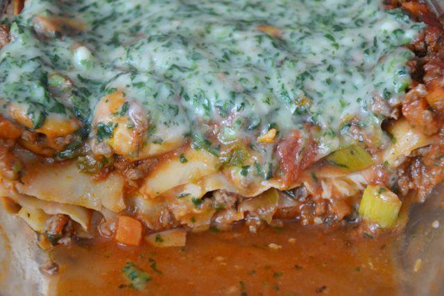 Lasagne met groen dekentje