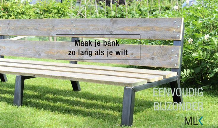 Maak je tuinbank zolang als je wilt. Gebruikt steigerhout, blank gebeitst. Of misschien een ander soort hout of afwerking.