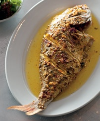 Tony Bilson's Whole Baked Snapper with Pernod & Saffron (from Sydney Seafood School Cookbook   Lantern)