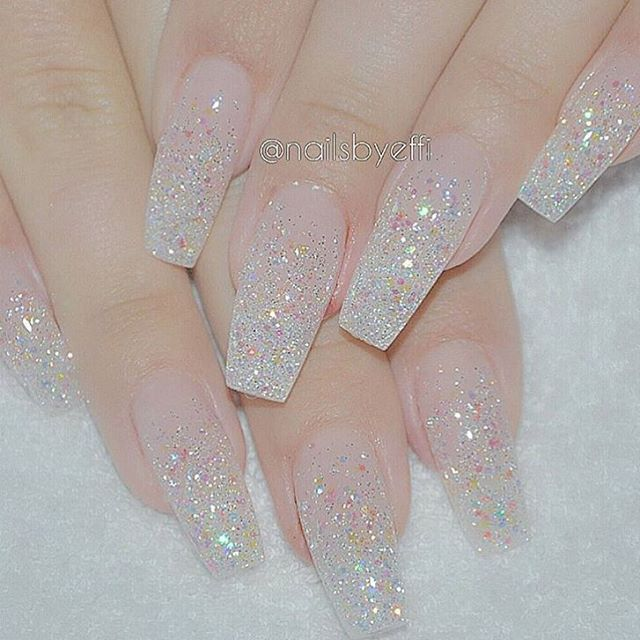 Clear Sparkle Acrylics In 2019 Clear Glitter Nails Sparkle Acrylic Nails Cute Nails