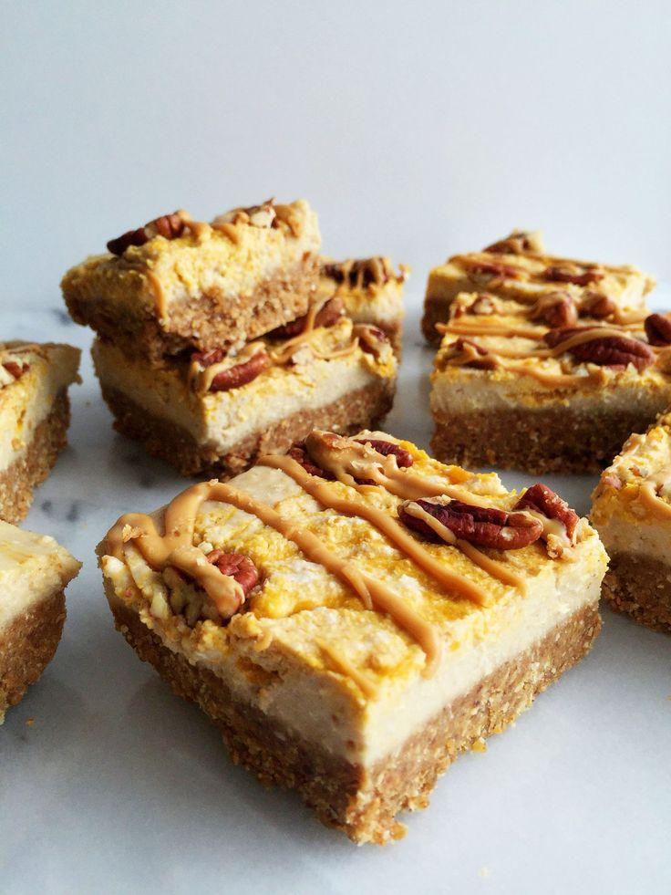 No-Bake Pumpkin Swirl Cheesecake Bars that are vegan and gluten-free