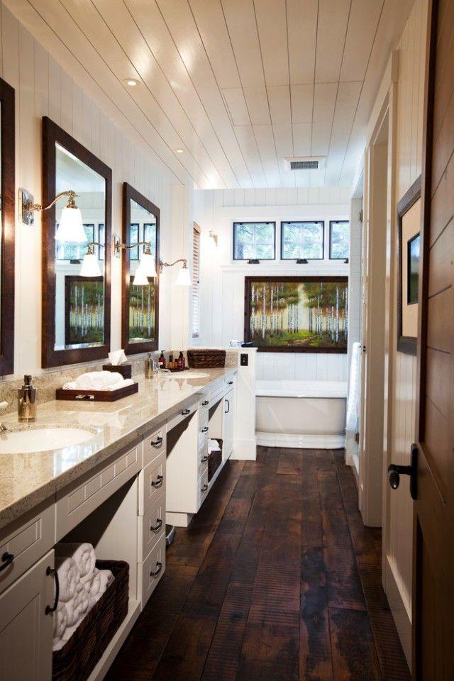 Wood Tile Floor Bedroom Interior Design In 2020 Rustic Wood Floors Wood Tile Bathroom Dark Wood Bathroom