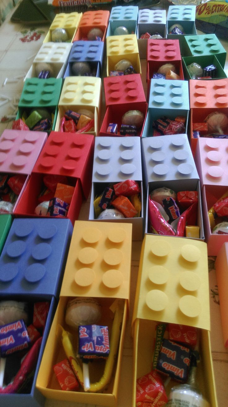 Handmade Lego Card boxes with sweets in!