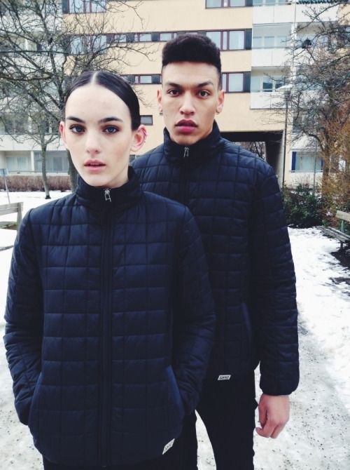 AW/15Cold January day. Models @kev_fordand Agnes wearing square quilt styles from AW/15.