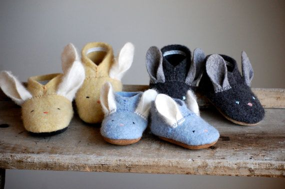 Awww how cute are these little shoes.  Be great slippers for cold weather or for hopping around at Easter time!  Bunny Shoes for Baby Easter Shoes Made to Order by WoolyBaby, $40.00