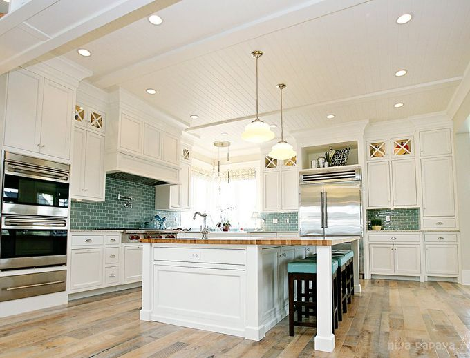 Another great kitchen by Ben Blackwelder #white #kitchen #subway #tile #coastal: Butcher Block, Dreams, Ceiling, Dream House, Kitchen Ideas, Subway Tiles, Dream Kitchens, White Kitchens, Island