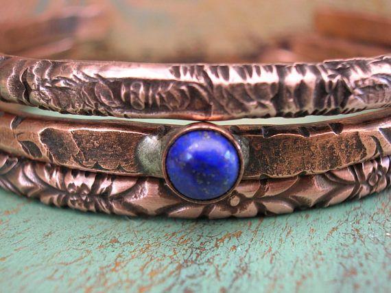 Boho stacking bracelets set of 3  Ancient Alchemy  copper
