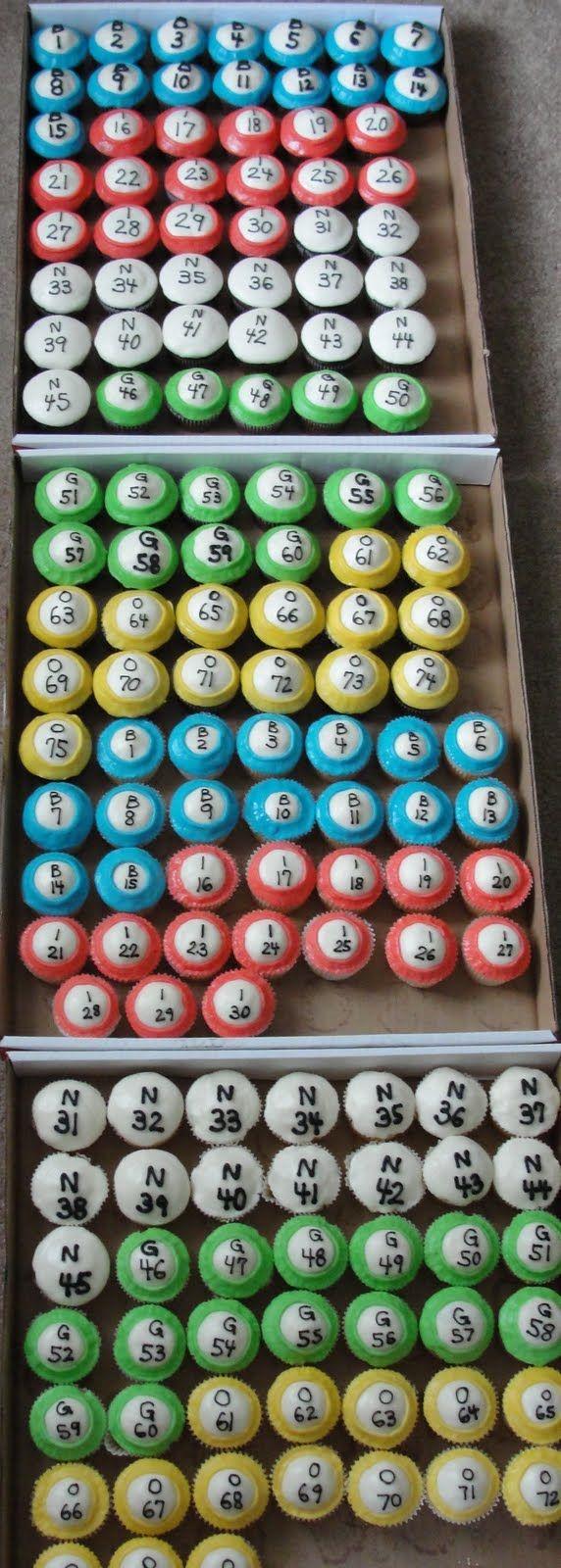 bingo cupcakes | BINGO ball cupcakes