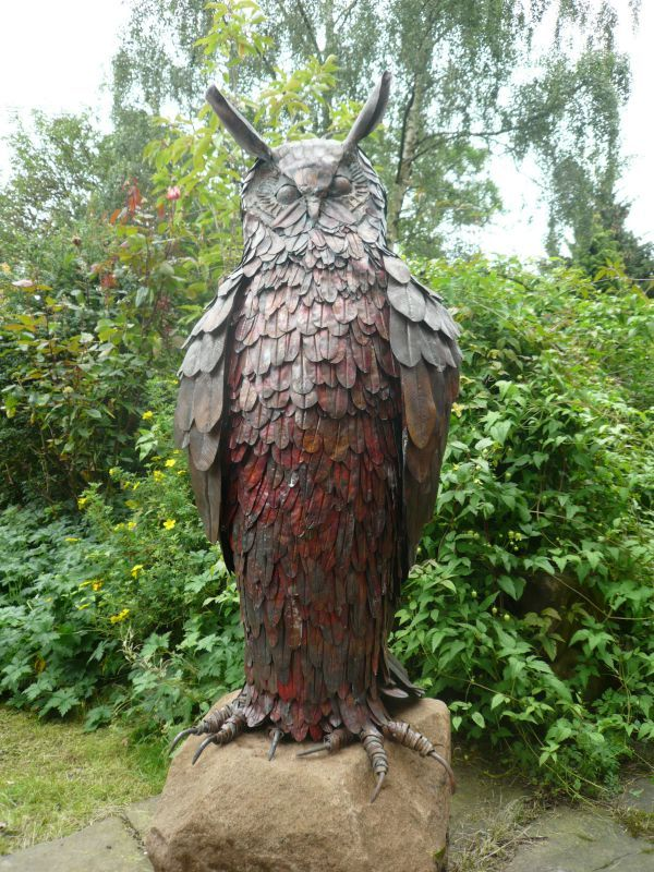 Copper With Steel Armature Garden Sculpture By Artist Lynn Mahoney Titled:  U0027Copper Eagle Owl