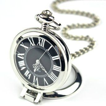 Fashion Stainless Steel Case Roman Numbers Modern Pocket Watch Black PW052