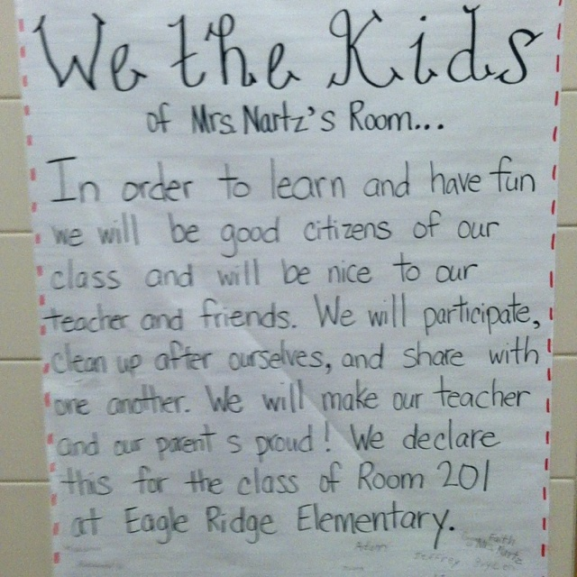 Writing a classroom constitution in 2nd grade
