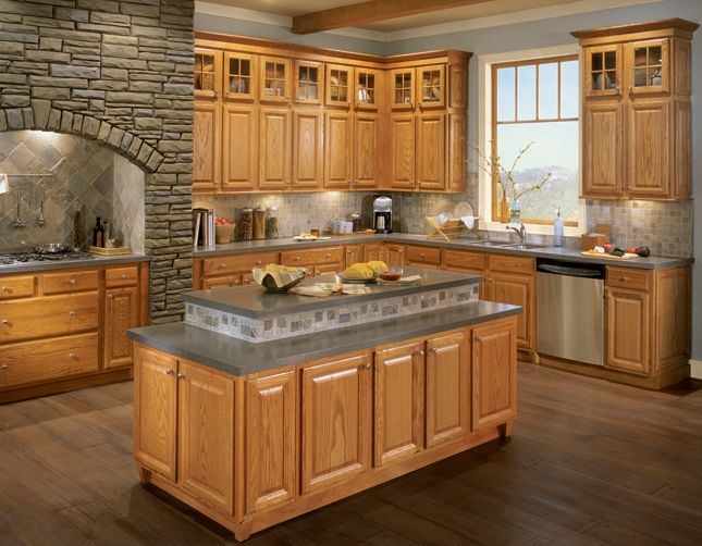 Light oak cabs with grey counter kitchen pinterest light oak gray and lights Kitchen design with light oak cabinets
