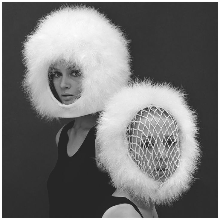 Celia Hammond and Patty Boyd in Capsule Line Feathered Helmets by Pierre Cardin, 1960. Photo by John French.