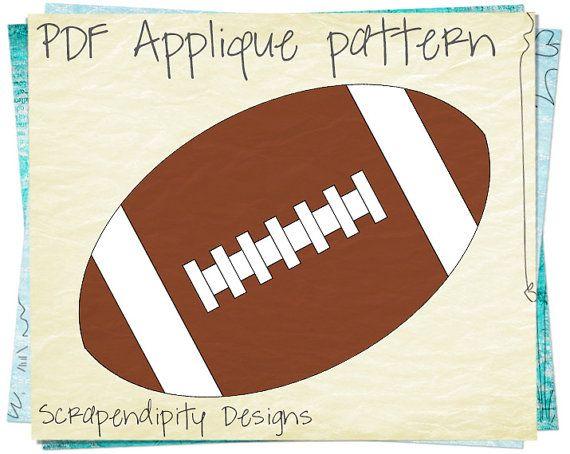 Football Applique Pattern - Sports Kids Applique Template / DIY Football Iron on Transfer / Baby Bodysuit / Sports Quilt Design / PDF AP76-D...