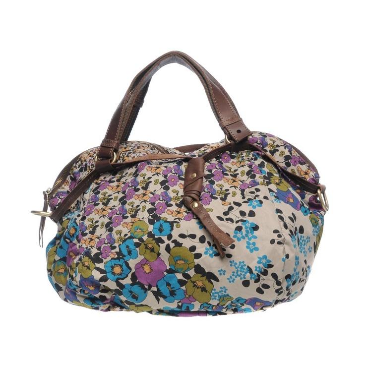 KELLY BROWN-Hand bags-TASMIN.SB  Nice beautiful summer day bag, blue purple and green flowers.