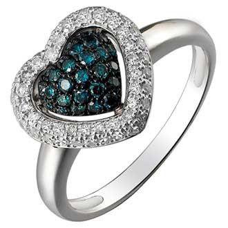 0.53 Carat Blue Diamond 14K White Gold Women Rings 2.74g: Ring Size: 7 (Sizable)