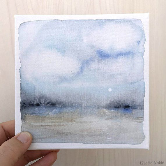 Small Painting Gift For Birthday Original Watercolor Canvas