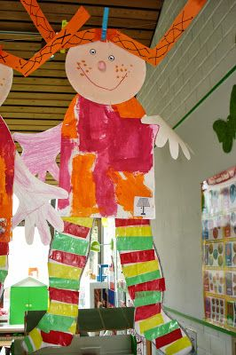 gezicht van bordje, jurk in patronen schilderen, benen omtrekken en opvullen met stroken, 4 x op oranje stroken tekenen als vlechtjes.