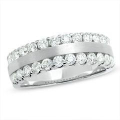 1 CT. T.W. Diamond Two Row Band in 14K White Gold - View All Rings - Zales