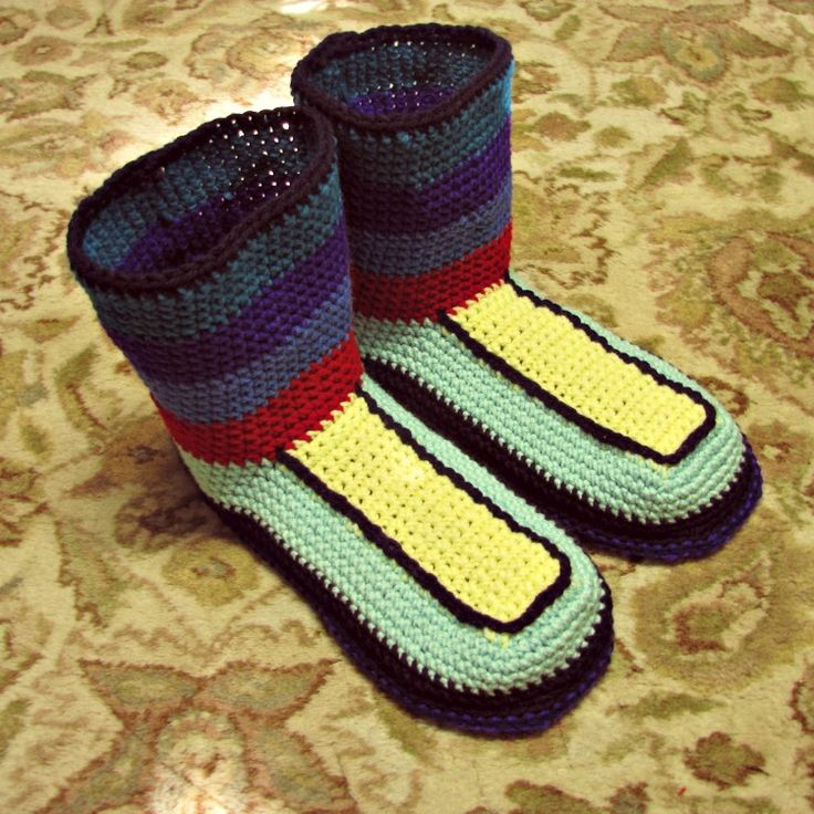 Super fun slippers I just made for my husband. When he tells me how much he loves my handmade slippers, how can I turn him down when he asks? We've been married 26 years and I've made him new slippers (or at least new soles) just about every year! That's a lot of crochet love!