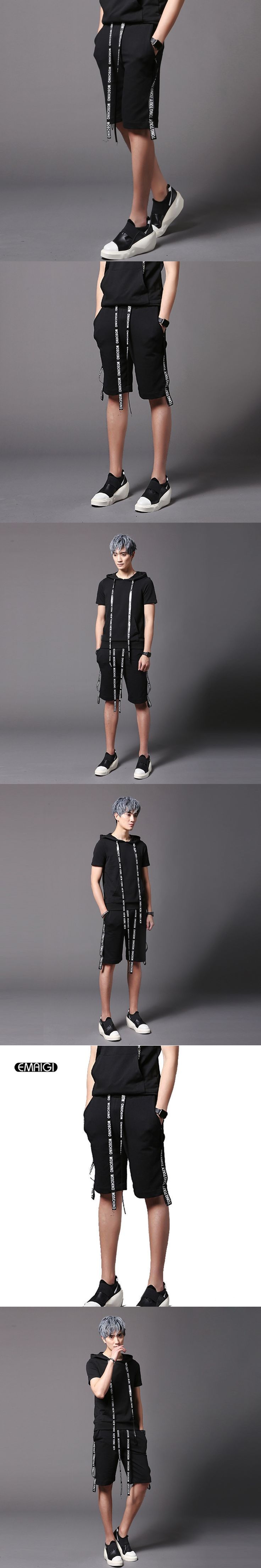 Ribbon Decorated Street Fashion Men Shorts Punk Hip-hop Male Summer Casual Shorts Stage Show Costumes