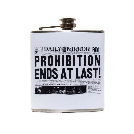 Prohibition Ends Newspaper Ad Flask