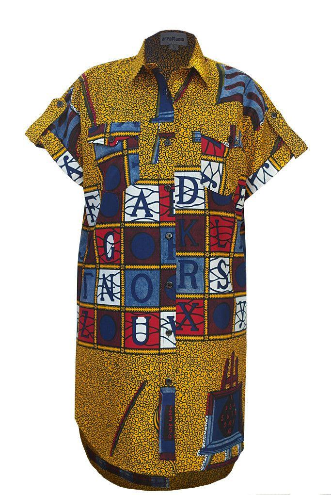 Alphabet African Print Oversized Shirt Dress - Yellow – Sapelle