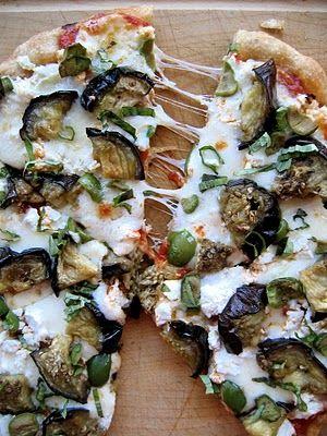 I love pizza. Roasted eggplant, fontina, ricotta salata, olives and basil bake atop a crispy whole wheat crust and fresh tomato sauce. From The Bojon Gourmet