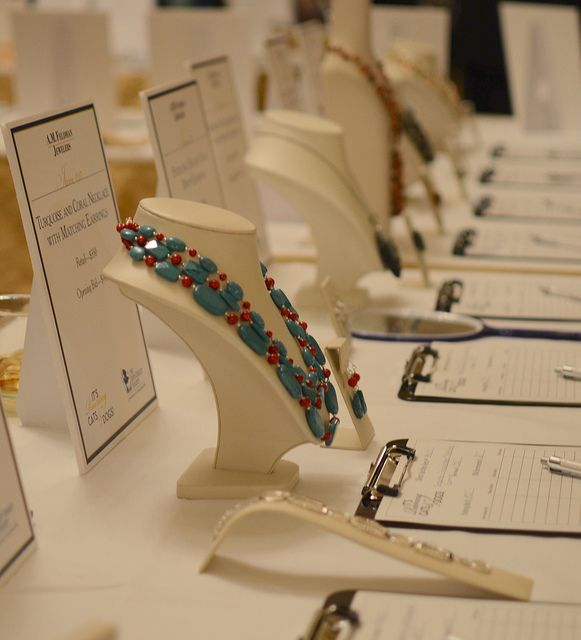 Jewelry auctioned off at the silent auction area