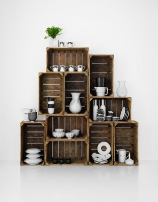 Stacked crates make a display case (styled by Lotta Agaton)