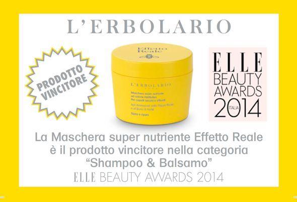 """La Maschera Super Nutriente Effetto Reale è il prodotto vincitore nella categoria """"Shampoo & Balsamo"""" degli ELLE BEAUTY AWARDS 2014, il premio alla bellezza di Elle Italia!"""