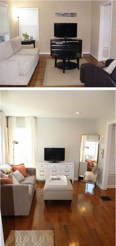 Living room before and after, gray walls, dresser tv console white drapes west elm DIY neutral white grey wood floors acrylic lucite mirror floor lamp small living room