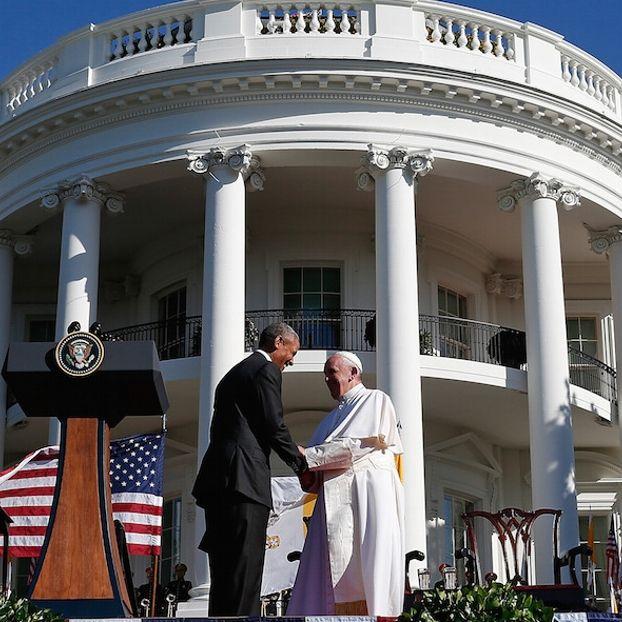 Il presidente degli Stati Uniti Barack Obama e Papa Francesco alla Casa Bianca, #Washington